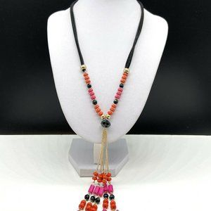 NY&Co Y Chain Necklace New York Co Black Hot Pink